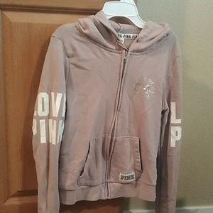 PINK VS hoodie! Full Zip jacket Rosey Beige